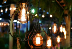Lanterns lighting the path